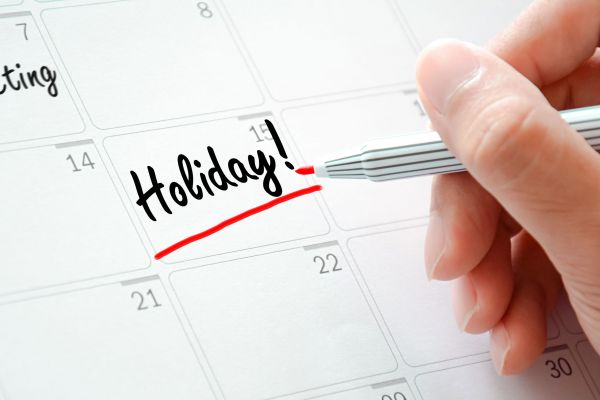 2020 List of Holidays