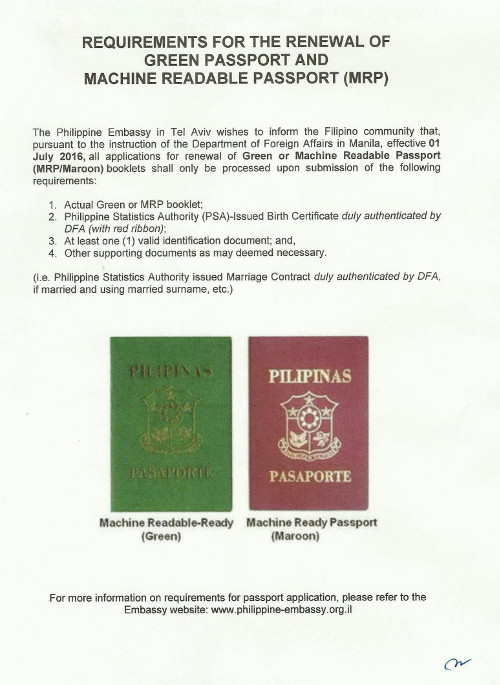 Requirements for the Renewal of Green Passport and Machine Readable Passport