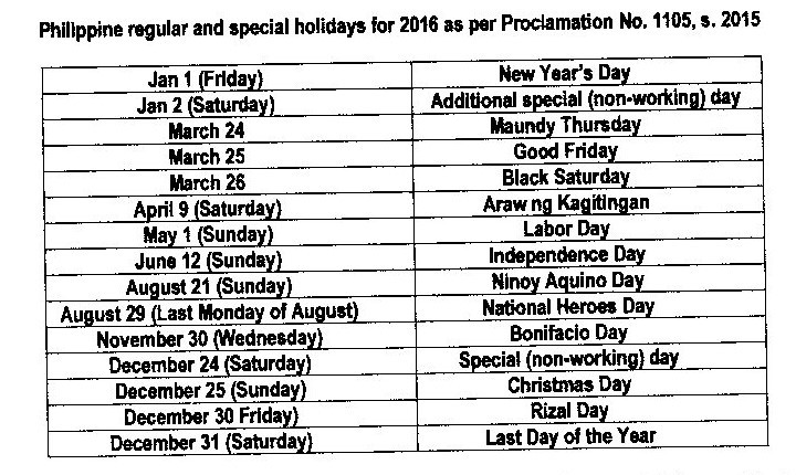 Indicative List of Holidays & Vacations / Annual Leave for Filipino Workers in Israel for 2016