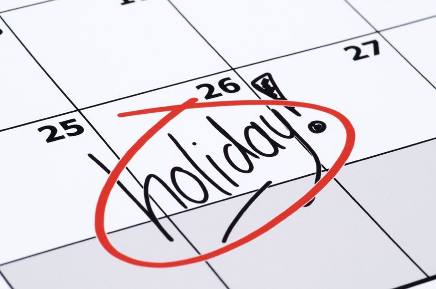 List of Holidays for 2016